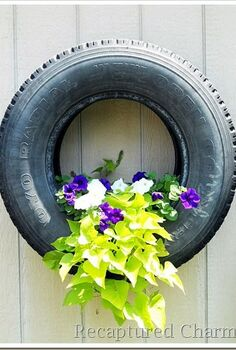 tire planters, flowers, gardening, repurposing upcycling, Flowers seems to grow beautifully in these tires