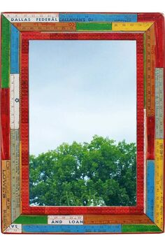 repurposed upcycled yardstick frame mirror, repurposing upcycling
