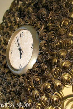faux brass wall clock, crafts, repurposing upcycling, Faux brass wall clock made with toilet paper tubes recycle diy