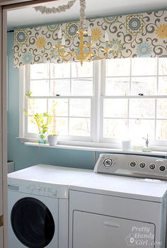 bright amp cheery laundry room, laundry room mud room, Fabric is Waverly Pom Pom Spa Right now it is just draped over a curtain rod not sewn yet