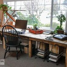 decorating from nothing to something a junker s full home tour, home decor, outdoor living, repurposing upcycling, I needed a nice long desk so a few boards from pallets and crates later this farm style desk emerged It cost me 3 for new screws