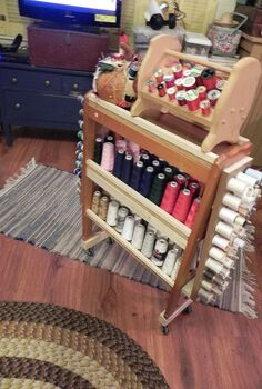 thread cart, shelving ideas, woodworking projects, Each end hold 30 spools of thread the shelves hold 25 It has casters so it can roll from one machine to another