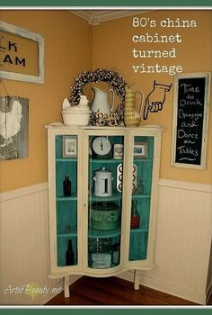 80 s oak bow front china cabinet turned vintage getorganized, painted furniture, I love hows this once 80 s oak now has a total VINTAGE look to organize all my vintage finds