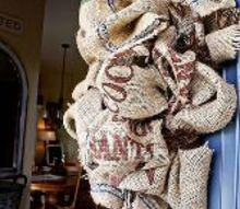 burlap coffee bean sack wreath, crafts, repurposing upcycling, seasonal holiday decor, wreaths, I love this wreath on our Slate Tile door