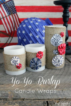 burlap yo yo patriotic candle wraps, crafts, patriotic decor ideas, seasonal holiday decor, The perfect addition to your summer 4th of July decor