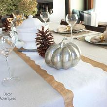 diy holiday table runner, crafts, seasonal holiday decor, Holiday table runner made with a curtain tape and paint