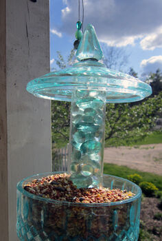 diy candy jar birdfeeder, crafts, repurposing upcycling, My candy jar bird feeder hanging on my front porch