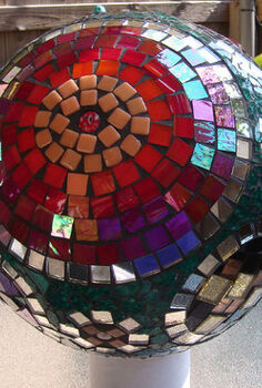 mosaic gazing ball, crafts, View of gazing ball