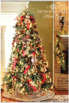 how to decorate a christmas tree with only ribbon and greenery, christmas decorations, crafts, seasonal holiday decor, I found some beautiful burlap ribbon at the craft store and mixed it with red ribbon and gold