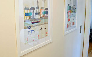 ikea travel prints in the hallway and a lesson in just starting, foyer, home decor, wall decor, The modern look and pop of color is such a nice addition to a darker hallway