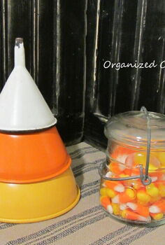 re purposing funnels as candy corn, crafts, repurposing upcycling, seasonal holiday decor, A Re purposed Funnel Candy Corn