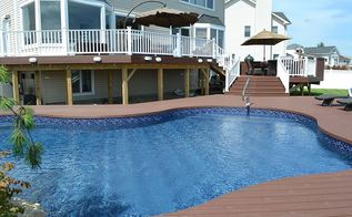 the deck and patio company replaces pool deck after hurricane sandy, curb appeal, decks, outdoor living, patio, Elegant Multi Level Deck and Freeform Pool In order to bring the outdoor space up to the same level as the home our design called for three deck levels leading from the door down to a new freeform vinyl pool