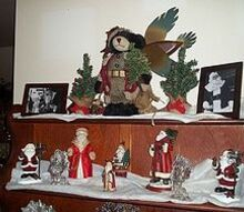 christmas decor, christmas decorations, seasonal holiday decor, This is my hutch that my grandpa built back in 1940 and gave it to my grandma it was handed down to my mom and then to me