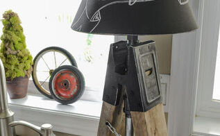 creating junky sawhorse pipe chalkboard shade lamps on a dare, diy, electrical, how to, lighting, repurposing upcycling