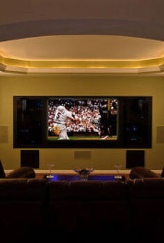 basement finish in belleville il, basement ideas, entertainment rec rooms, home decor, Custom Theater Room with trayed ceiling inset crown lighting recessed TV niche and smoked glass niche components