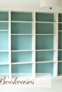 built in bookcases, craft rooms, storage ideas, Ikea Billy bookcases turned into built in unit