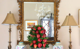 diy apple topiary for the holidays, christmas decorations, crafts, seasonal holiday decor, thanksgiving decorations, DIY Apple Boxwood Topiary for the Holidays