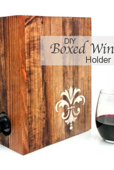 making a fancy boxed wine holder, diy, how to, pallet, Jocie stained the pallet wood and added the beautiful fleur de lis on one side