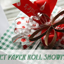 toilet paper roll snowflake, christmas decorations, crafts, repurposing upcycling, seasonal holiday decor, Make pretty snowflakes to decorate your presents out of toilet paper rolls