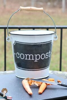 transfer vintage graphics amp photos to wood and metal, crafts, decoupage, Countertop enamel compost bucket