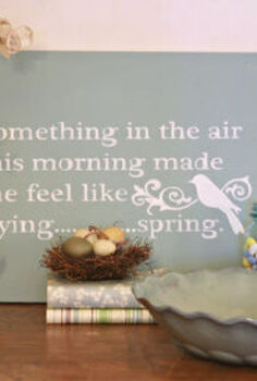 decorating for spring easter how about you, easter decorations, seasonal holiday d cor, DIY spring canvas and vignette