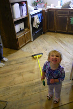 reclaimed barn wood kitchen floor, flooring, The wood has all been laid Thank goodness my little girl loves to help