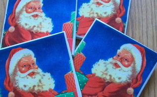 upcycle thrifted tiles coasters, crafts, decoupage, Santa Coasters from thrifted tiles store napkins cork protectors plus some white school glue Easy cheap decoupage project