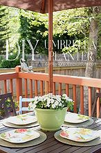 diy umbrella planter, flowers, gardening, outdoor furniture, outdoor living, painted furniture