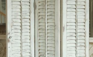 how to paint old shutters and use for decor, home decor, painting, repurposing upcycling, Estate Sale treasures I found several sets of plain wood shutters Gave them a new look with a blend of CeCe Caldwells Nantucket Spray and Vintage White
