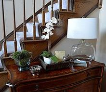 small changes in the entryway, foyer, home decor, Adding a seeded glass lamp changed the look of this tabletop giving it a more contemporary and fresh look