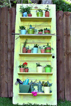 discarded door planting shelf, gardening, repurposing upcycling