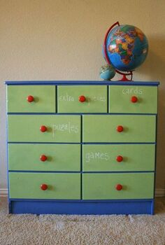 a game dresser with chalkboard drawers using clear chalkboard coating, chalkboard paint, organizing, painted furniture