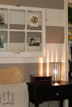 striped guest room office with farmhouse and rustic decor, craft rooms, home decor, home office, My sewing area and closet space The old window holds photos of all 4 sets of great grandparents