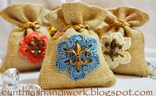 valentine s day burlap gift bag w crochet motif, crafts, seasonal holiday decor, valentines day ideas