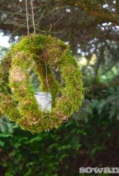 outdoor moss candle orb s, crafts, gardening, outdoor living, Suspend from tree branches or eaves as with any candles use caution