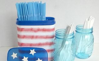 all american upcycled plastic can, crafts, repurposing upcycling, This no cost repurposed can has been useful and many summer picnics and cookouts