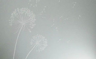 painted dandelion wall graphic tutorial, painting