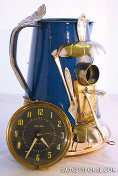 repurposed upcycled custom metal birdhouse from blue coffee pot amp silverware, repurposing upcycling, wildlife animals, Repurposed Upcycled Custom Metal Blue Coffee Pot Kettle Birdhouse by GadgetSponge com