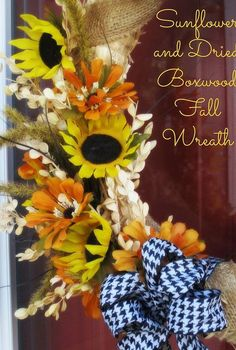 sunflower dried boxwood fall wreath, crafts, seasonal holiday decor, wreaths, Sunflowers with black white houndstooth bow The perfect early Fall combination