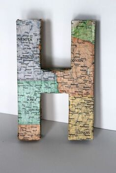 turn a cardboard letter from drab to fab, crafts, decoupage, home decor, After I glued the map onto the letter I sealed it with Mod Podge