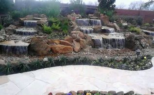 stunning pondless waterfall is the focal point of this backyard near houston texas, landscape, outdoor living, ponds water features, Finished in time for Christmas What a great present to the family