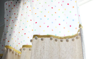 playroom curtain make over easy diy, entertainment rec rooms, home decor, reupholster, window treatments, Embellished playroom cutains