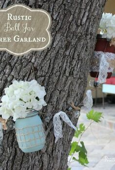rustic ball jar tree garland, crafts, flowers, gardening, repurposing upcycling, My finished Ball jar garland goes perfectly with the colors of our patio decor