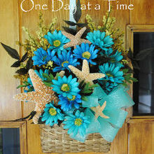 one day at a time beachy basket door decor