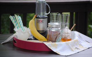this summer s must have item a diy smoothie station, outdoor living, Everything looks so neat Glasses blender cutting board fruit it s all in one place