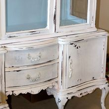 chalk painted furniture, chalk paint, painted furniture, This piece is painted in Pure White with Louis Blue Waxed and then heavily distressed