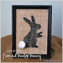 5 minutes or less five dollar store easter decor ideas under 5, easter decorations, seasonal holiday d cor, wreaths, Framed Burlap Bunny painted using a stencil and acrylic paint with an added cotton ball tail