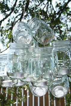a mason jar chandelier, mason jars, repurposing upcycling