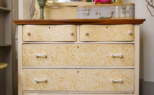 furniture stenciling ideas with royal design studio, chalk paint, painted furniture, Our Rockin Roses Damask Stencils adds a touch of elegance to this chest of drawers