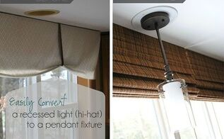 easily change a recessed light to a decorative hanging fixture, electrical, home decor, lighting